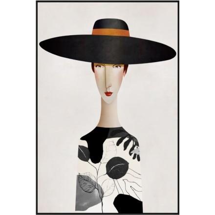 MODERN LADY 1 ΠΙΝΑΚΑΣ ΚΑΜΒΑΣ ΜΕ ΜΑΥΡΗ ΚΟΡΝΙΖΑ 80x120xΥ4,5cm