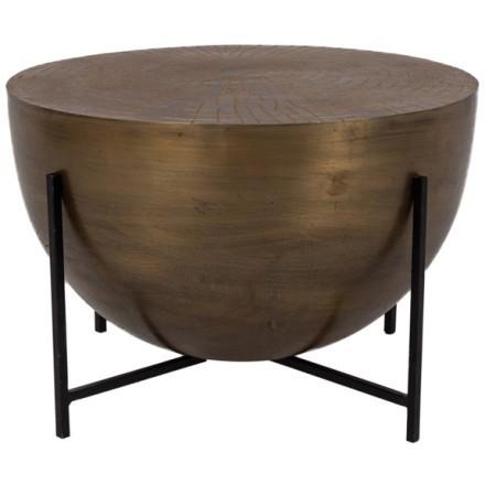MONTANA COFFEE TABLE BRASS ANTIQUE ΜΑΥΡΟ D56xH38cm