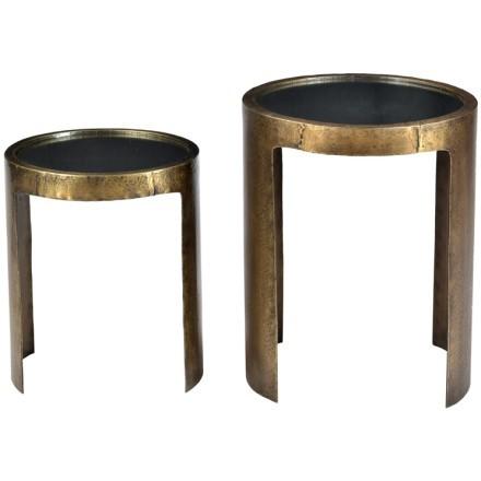 NEW WAVE SIDE TABLE SET 2ΤΕΜ ΚΑΘΡΕΠΤΗΣ BRASS ANTIQUE D41-34xH52-41cm