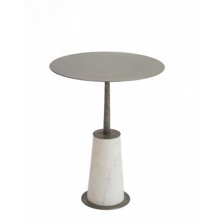 PILLAR WHITE SIDE TABLE NICKEL ANTIQUE ΛΕΥΚΟ D41xH52cm