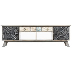 POEM TV STAND ΦΥΣΙΚΟ ΓΚΡΙ 160x40xH50cm, TV-STANDS, Maison