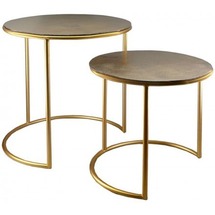 ROUND SIDE TABLE SET 2ΤΕΜ ΧΡΥΣΟ D49-42xH53-43cm