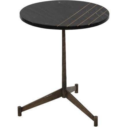 SIXTIES SIDE TABLE ΜΑΥΡΟ BRASS ANTIQUE D46xH55cm