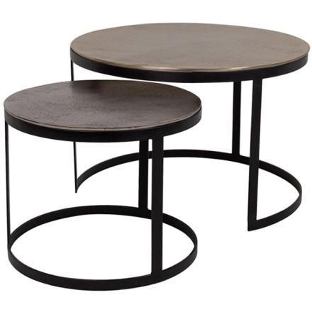 SOLOMON COFFEE TABLE SET 2ΤΕΜ GOLD NIKEL ΜΑΥΡΟ D61-43xH41-35cm