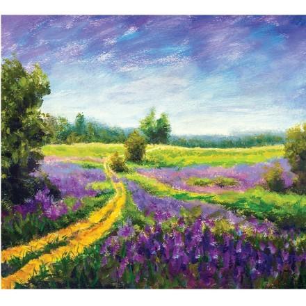 Paint landscape purple flower meadow