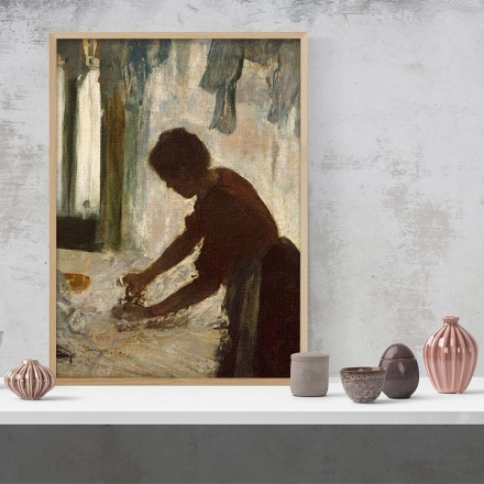 Oil painting with a woman ironing