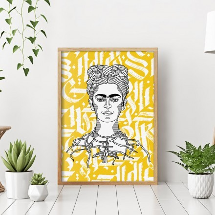 Abstract gothic calligraphy of Frida Kahlo