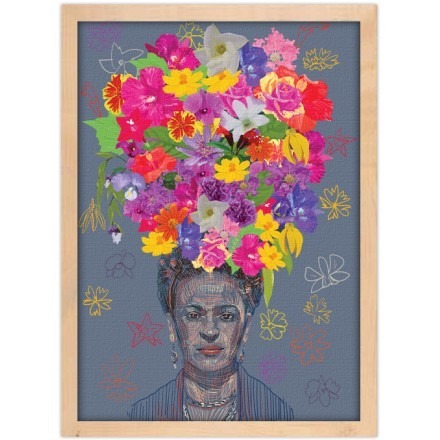 Drawing of Frida Kahlo's portrait with big colorful flower crown on the head