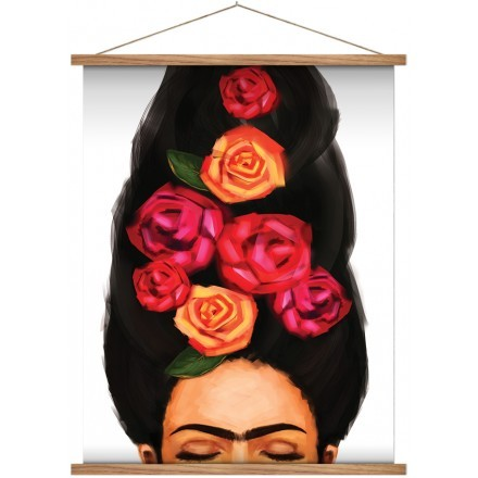 Portrait of Frida with closed eyes and flowers in her hair