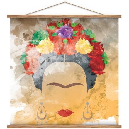 Frida Kahlo vector portrait, watercolor style