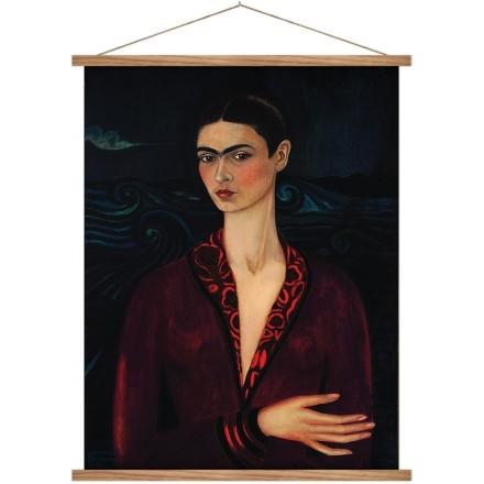 Frida kahlo in a dark red dress
