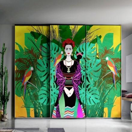 Frida Kahlo with floral background