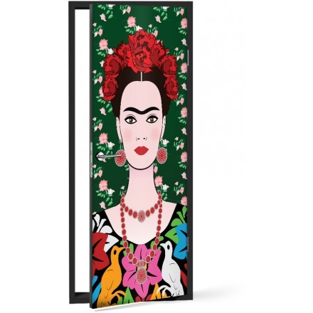 Frida Kahlo portrait, mexican woman with a traditional hairstyle
