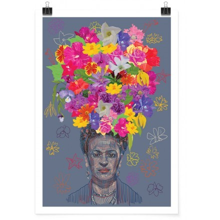 Drawing of Frida Kahlo with flower crown on the head