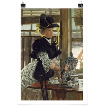 Elegantly dressed women with tea
