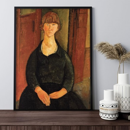 Painting seated young woman in an interior