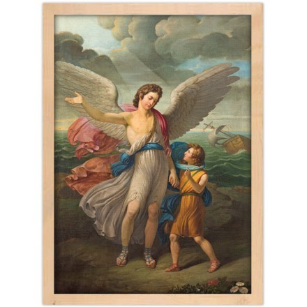 Painting of Archangel Raphael and Tobias in church