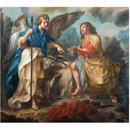 Painting of Tobias and archangel Raphael in church Chiesa di San Benedetto