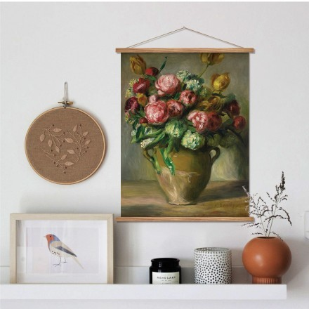 Still Life Painting of Flowers in a Brown Vase