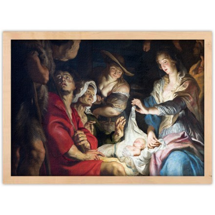 Central part of paint of Nativity scene
