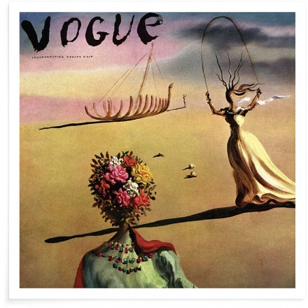 Vogue Cover Illustration Of A Woman With Flowers