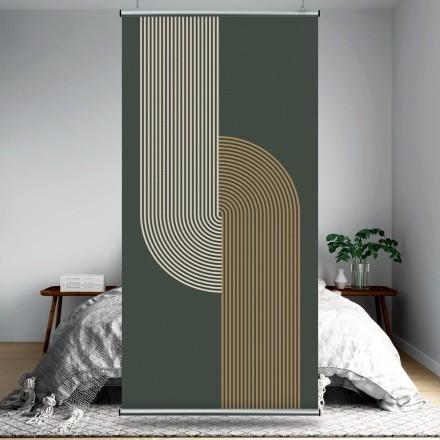 Beige & white lines in green