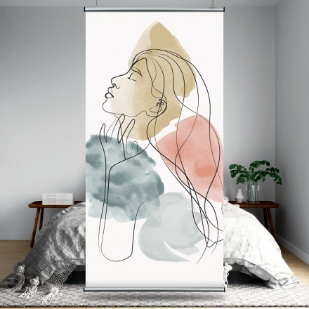 Χρώματα νερομπογιάς και κοπέλα