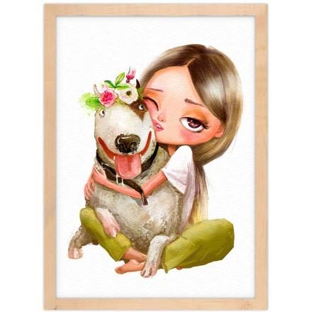 Κορίτσι αγκαλιάζει σκύλο