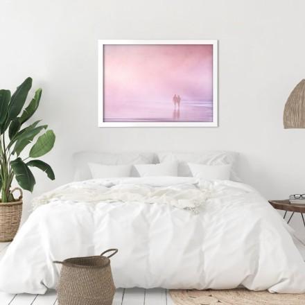 Ροζ φόντο με σκιά ζευγαριού