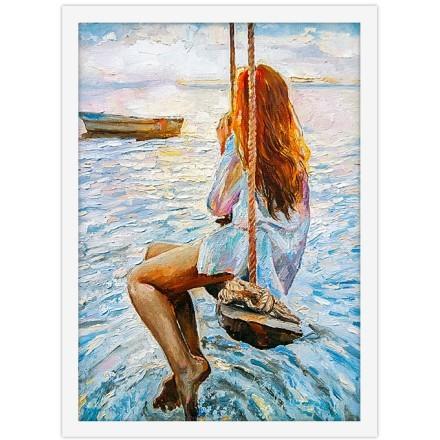 Κοπέλα σε κούνια πάνω από την θάλασσα