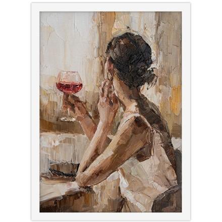 Πλάτη κοπέλας με ποτήρι κρασί