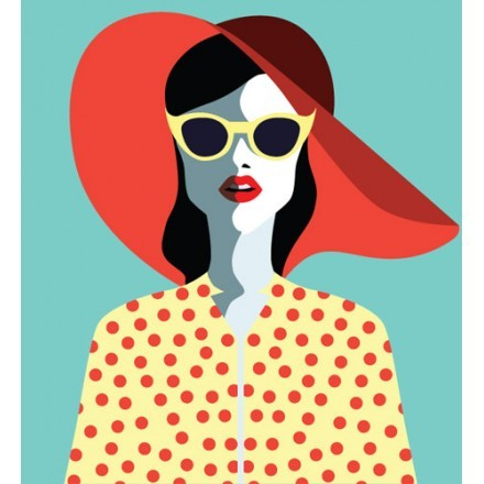 Ρετρό γυναίκα με κόκκινο καπέλο