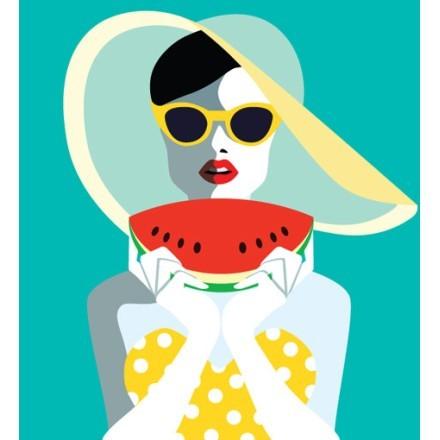 Ρετρό γυναίκα καρπούζι