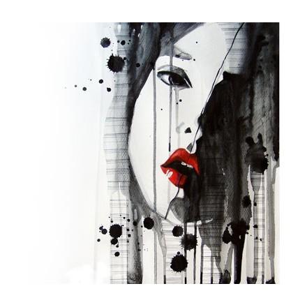 Κοπέλα με κόκκινα χείλη