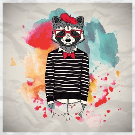 Hipster racoon