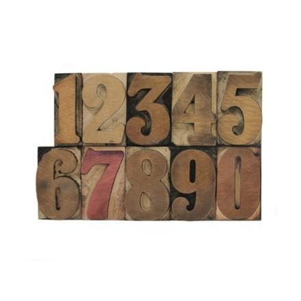 Ξύλινοι αριθμοί λερωμένοι με μελάνι