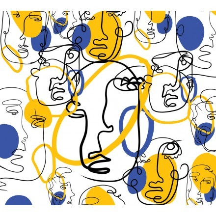 Blue and yellow with faces