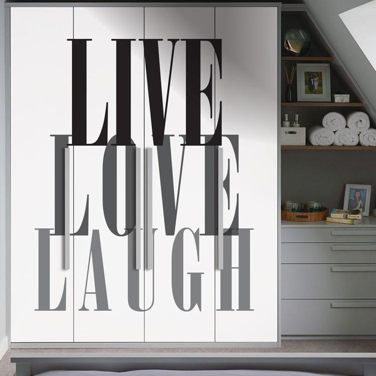 Αυτοκόλλητο Ντουλάπας Live,Love,Laugh