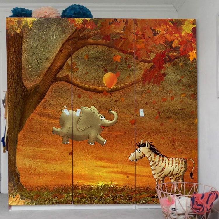 Αυτοκόλλητο Ντουλάπας Ελέφαντας και ζέβρα στο δάσος