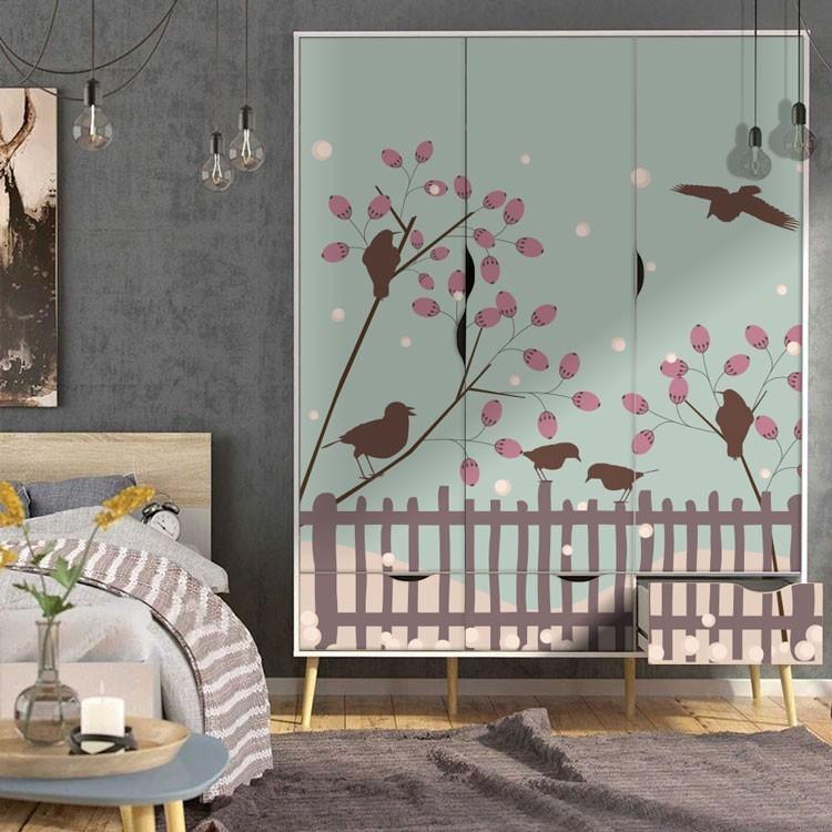 Αυτοκόλλητο Ντουλάπας Πουλιά σε χειμερινό φόντο