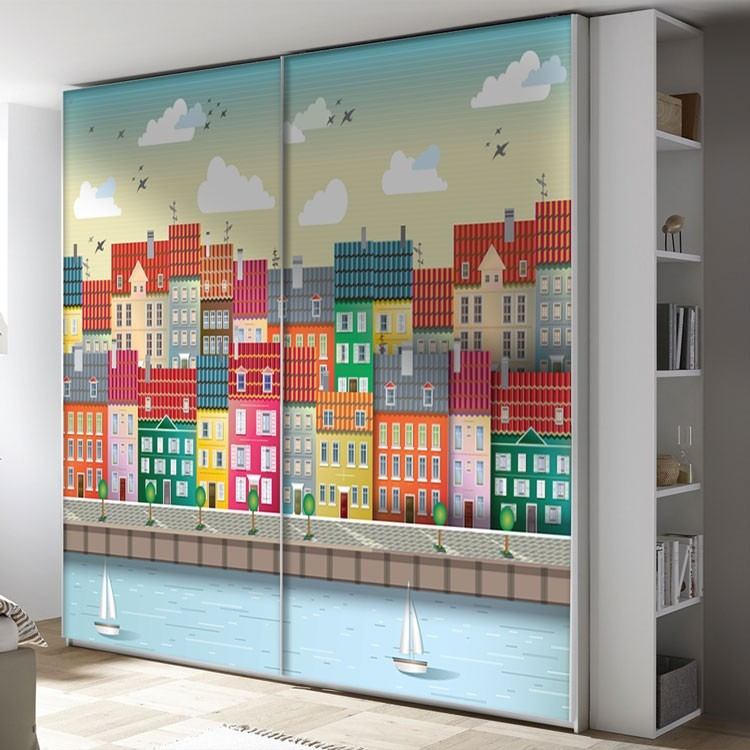 Αυτοκόλλητο Ντουλάπας Πολύχρωμα σπίτια