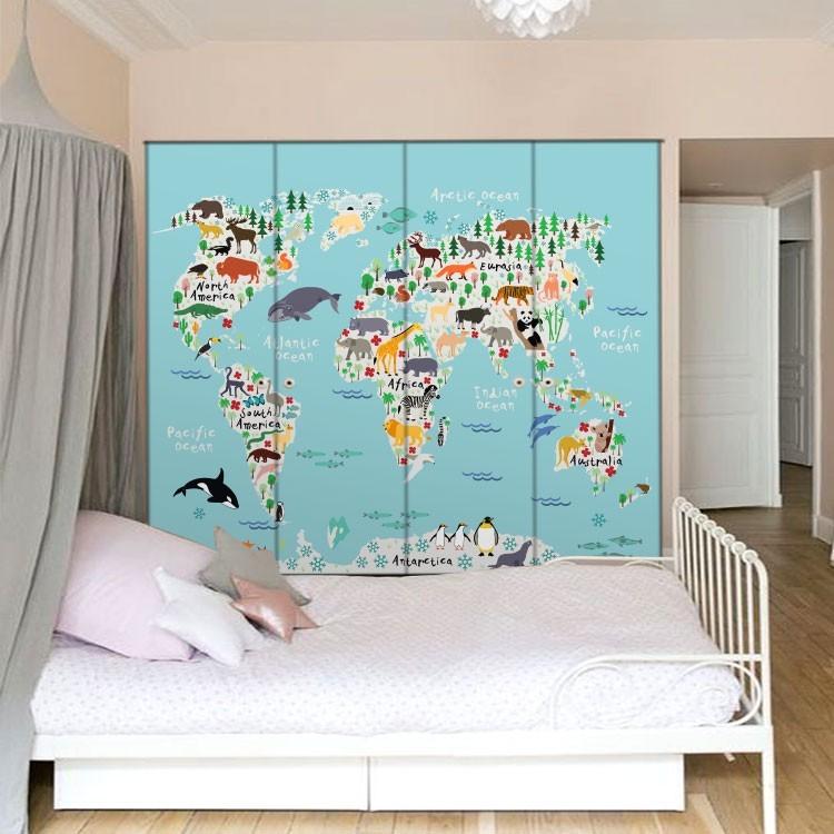 Αυτοκόλλητο Ντουλάπας Παιδικός Χάρτης με όμορφα ζωάκια