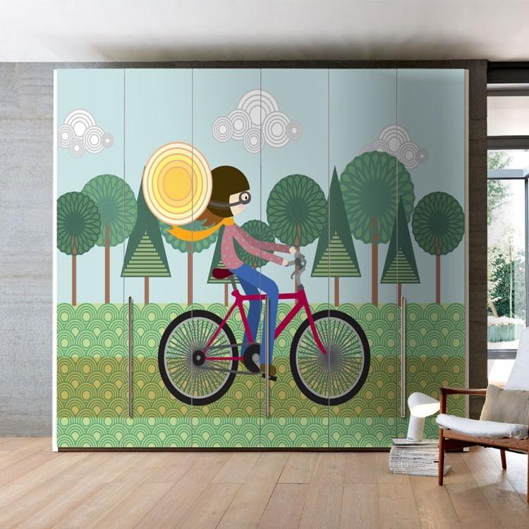 Αυτοκόλλητο Ντουλάπας Βόλτα με Ποδήλατο