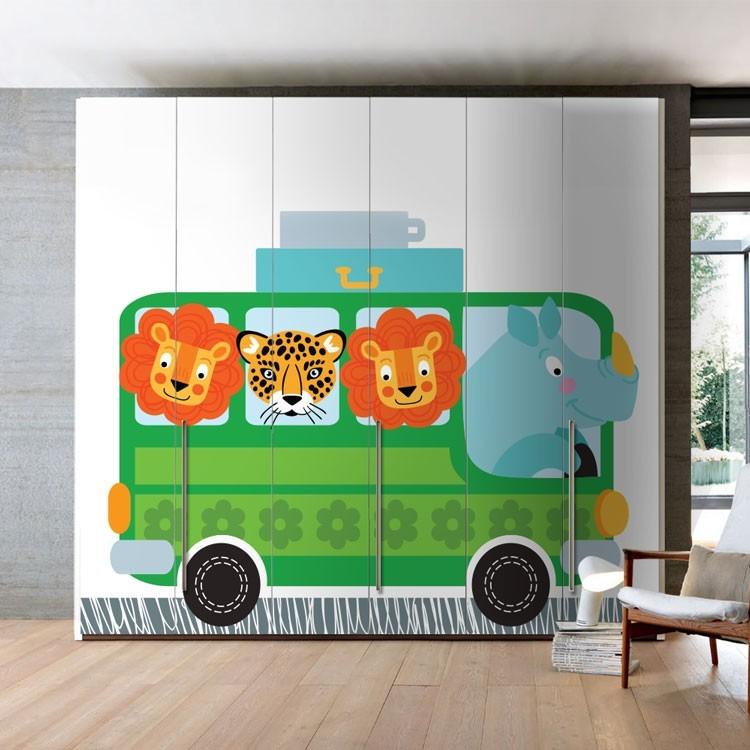 Αυτοκόλλητο Ντουλάπας Λεωφορείο Με Ζώα