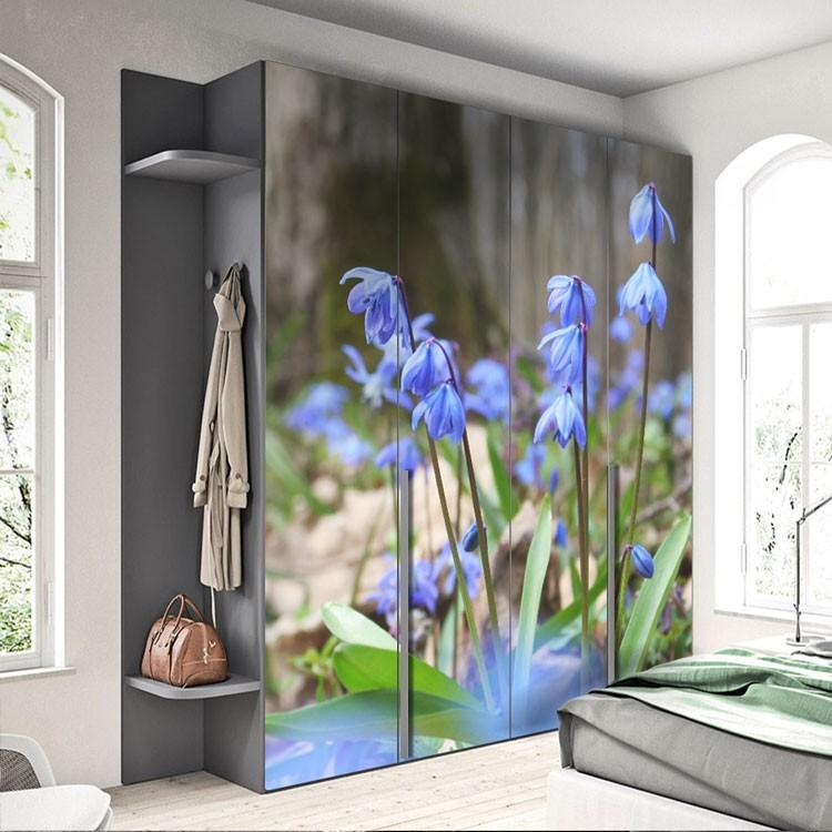 Αυτοκόλλητο Ντουλάπας Ανοιξιάτικα λουλούδια καμπανούλες