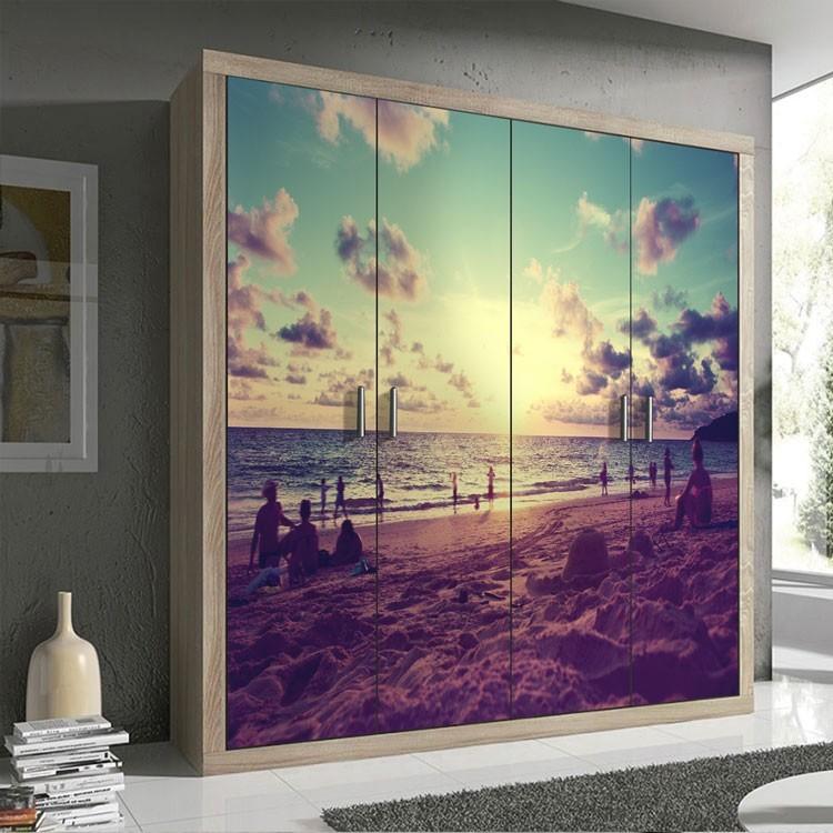 Αυτοκόλλητο Ντουλάπας Ηλιοβασίλεμα στην παραλία