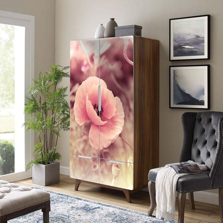 Αυτοκόλλητο Ντουλάπας Ροζ παπαρούνα