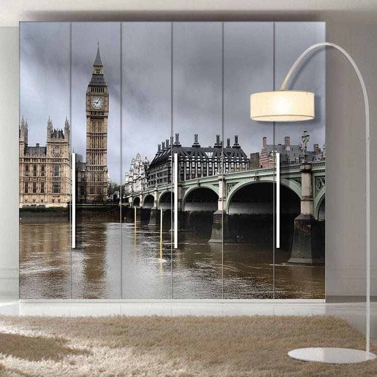 Αυτοκόλλητο Ντουλάπας Η γέφυρα Westminster με το Big Ben