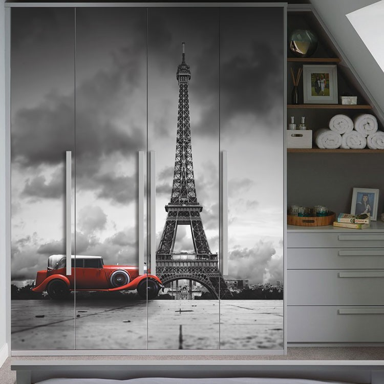 Αυτοκόλλητο Ντουλάπας Kόκκινο αυτοκίνητο, Πύργος του Άιφελ