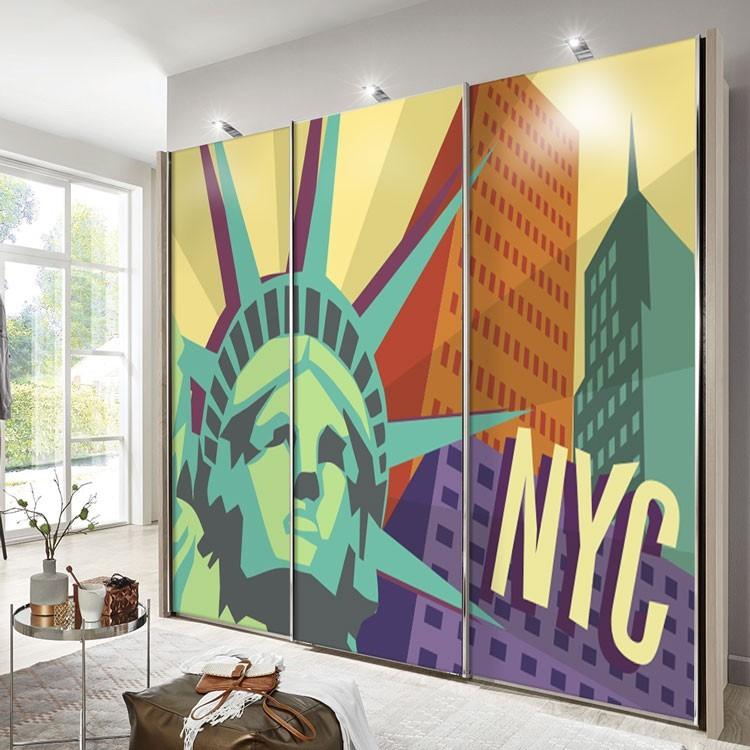 Αυτοκόλλητο Ντουλάπας Aφίσα της Νέας Υόρκης